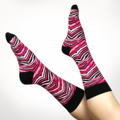 Mens One Size Fits Most PinkBlack Zebra Socks