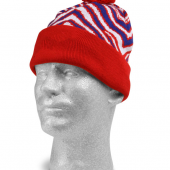 NEW BLUERED ZEBRA KNIT HAT