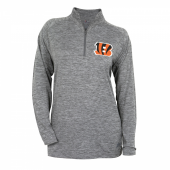 Womens Cincinnati Bengals Gray Space Dye Quarter Zip Pullover