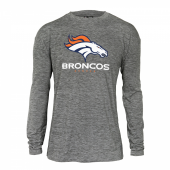 Mens Denver Broncos Gray Space Dye Long Sleeve Tshirt