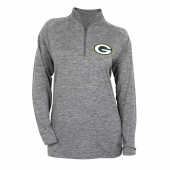 Womens Green Bay Packers Gray Space Dye Quarter Zip Pullover