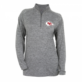 Womens Kansas City Chiefs Gray Space Dye Quarter Zip Pullover
