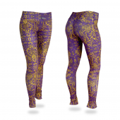 PurpleGoldGrey Post Print Legging