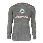 Mens Miami Dolphins Gray Space Dye Long Sleeve Tshirt