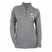 Women Miami Dolphins Gray Space Dye Quarter Zip Pullover