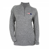 Womens New England Patriots Gray Space Dye Quarter Zip Pullover