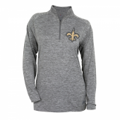 Womens New Orleans Saints Gray Space Dye Quarter Zip Pullover