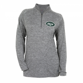 Womens New York Jets Gray Space Dye Quarter Zip Pullover