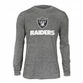 Mens Oakland Raiders Gray Space Dye Long Sleeve Tshirt