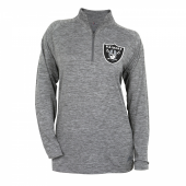 Womens Oakland Raiders Gray Space Dye Quarter Zip Pullover