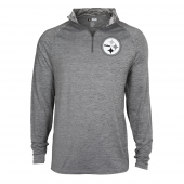 Mens Pittsburgh Steelers Gray Space Dye Quarter Zip Pullover