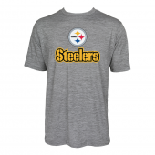 Mens Pittsburgh Steelers Large GraphicLogo Gray Space Dye Tshirt