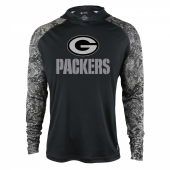 Green Bay Packers Black Post Light Weight Hoodie