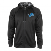 Detroit Lions Black Full Zip Hood With Digital Camo Hood Detail