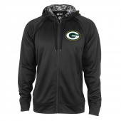Green Bay Packers Black Full Zip Hood With Digital Camo Hood Detail