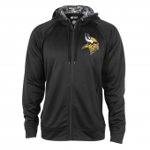 Minnesota Vikings Black Full Zip Hood With Digital Camo Hood Detail