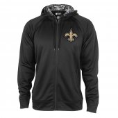 New Orleans Saints Black Full Zip Hood With Digital Camo Hood Detail