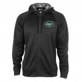 New York Jets Black Full Zip Hood With Digital Camo Hood Detail