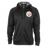Pittsburgh Steelers Black Full Zip Hood With Digital Camo Hood Detail