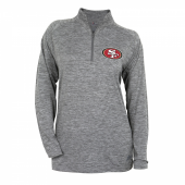 Womens San Francisco 49ers Gray Space Dye Quarter Zip Pullover