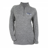 Womens Seattle Seahawks Gray Space Dye Quarter Zip Pullover