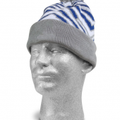 RAINSTORM BLUEMETALLIC SILVER ZEBRA KNIT HAT