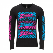 Zubaz Pink Blue Zebra Blocks Black Long Sleeve Tri Blend Tee