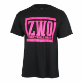 Zubaz World Order Black Tee With Pink Graphic